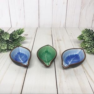 Vintage Japanese Leaf Leaves Sauce Dishes